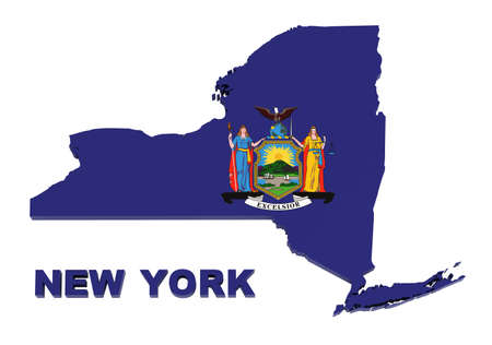 New York State, map with flag, isolated on white,