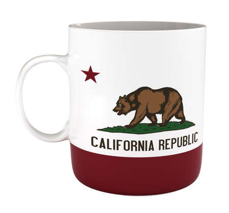 california flag: Mug with California flag, isoalted on white, with clipping path, 3d illustration