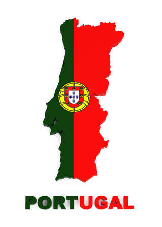 Portugal, map with flag, isolated on white, with clipping path, 3d illustration illustration