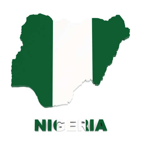 Nigeria, map with flag, isolated on white with clipping path, 3d illustration