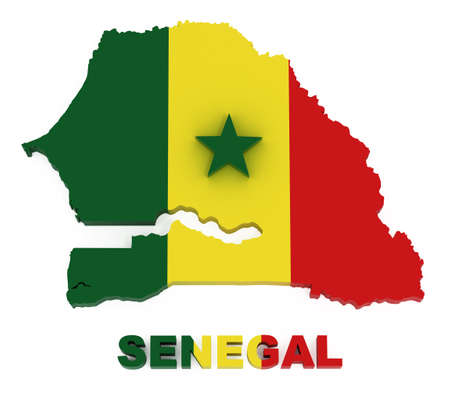 Senegal, map with flag, isolated on white 스톡 콘텐츠