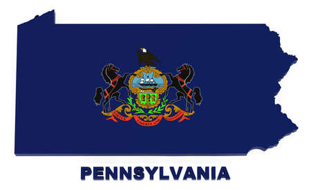 Pennsylvania, map with flag, isolated on white