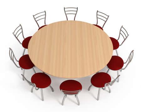 Mesa redonda con sillas, aislados en blanco, ilustración 3d Foto de archivo - 8555921