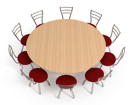 Round table with chairs, isolated on white , 3d illustration Imagens