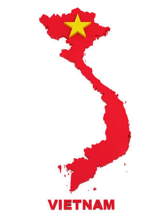 Vietnam, map with flag, isolated on white , 3d illustration