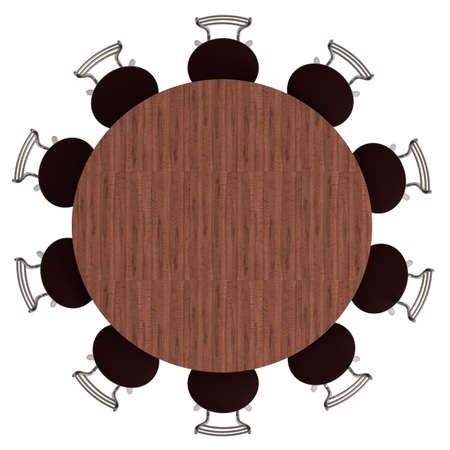 round chairs: Round table and chairs, top view, isolated on white,  3d illustration