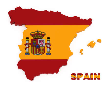 spanish flag: Spain, map with flag, isolated on white 3d illustration