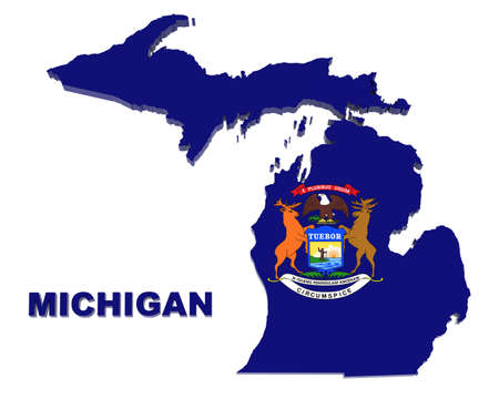 michigan state: Michigan state, map with flag, isolated on white