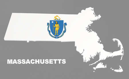 Massachusetts state, map with flag, isolated on grey,   3d illustration
