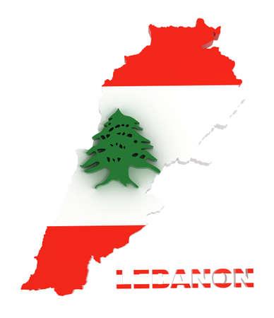 Lebanon, map with flag  3d illustration illustration