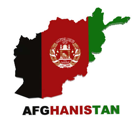 afghanistan flag: Afghanistan, map with flag 3d illustration
