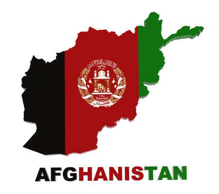 Afghanistan, map with flag 3d illustration