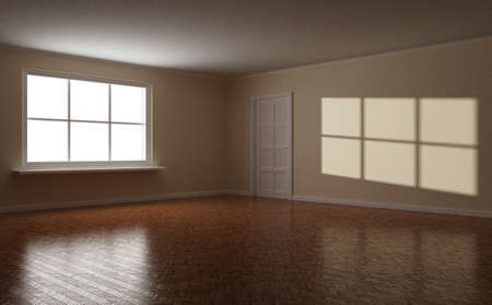 Empty clear room, wooden floor, white window and door, highlight on the wall, 3d illustration