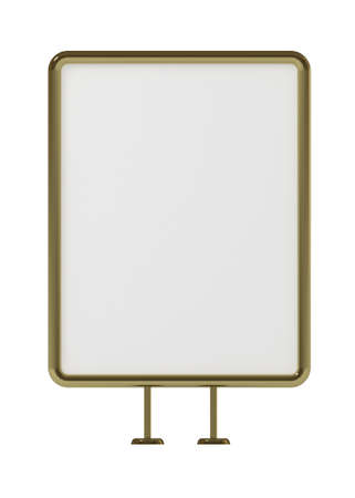 adboard: Blank board for advertisement, golden frame, front view, isolated on white