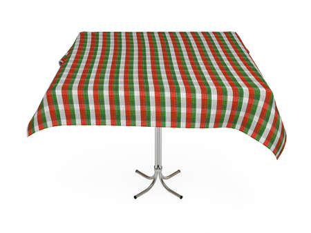 Table with stripped cloth, green, red and white colors photo