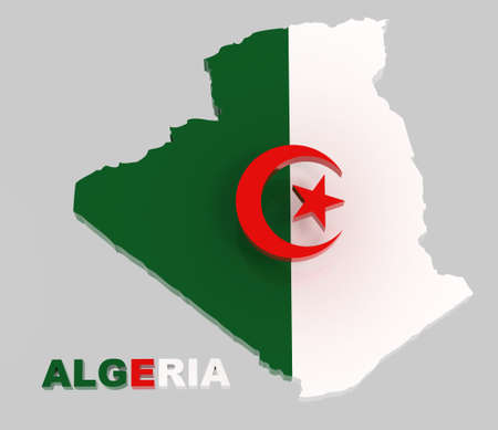 algerian flag: Algeria, map with flag, isolated on grey, 3d illustration