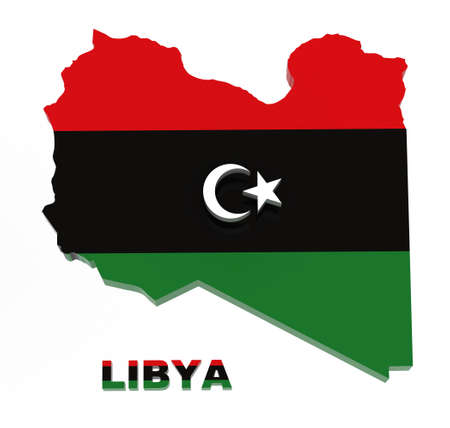 lybia: Libya, map with flag, isolated on white, 3d illustration
