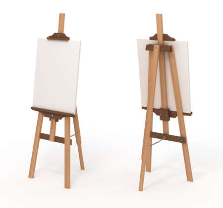 Wooden easel with blank canvas, front and back, isolated on white,3d illustration