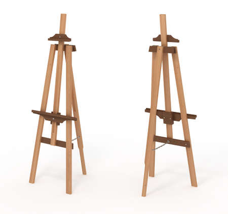 Wooden easel, empty.isolated on white, 3d illustration Imagens