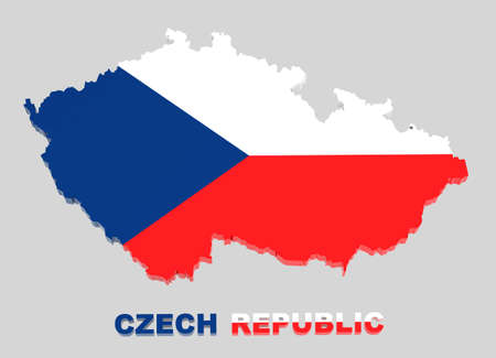 czech flag: Czech Republic map with flag isolated on grey,3d illustration Stock Photo