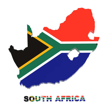 South Africa map with flag isolated on white,3d illustration