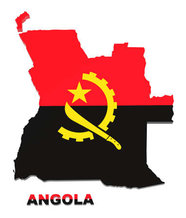 angola: Angola map with flag isolated on white,3d illustration