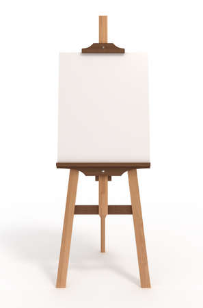 Blank art board wooden easel, front view isolated on white, 3d illustration illustration