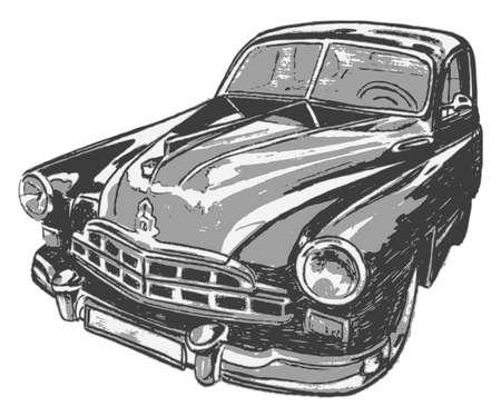 domestic car: Vintage car illustration