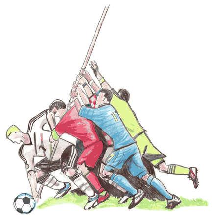 battling: Football players battling for soccer ball