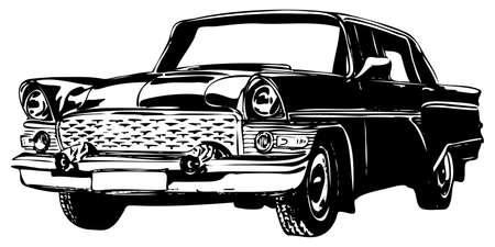 silueta coche: Coche retro