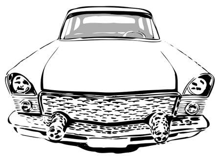 Retro car, front view, vector illustration