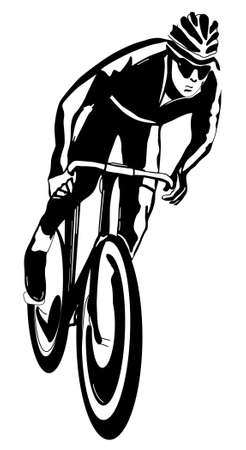 Cyclist, black and white illustration, easy to edit layers