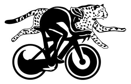 Cyclist and cheetah race, black and white, easy to edit