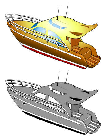 Yacht, speed boat, illustration Stock Vector - 14413479