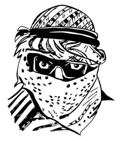 headscarf: Man in traditional Arab headdress,illustration