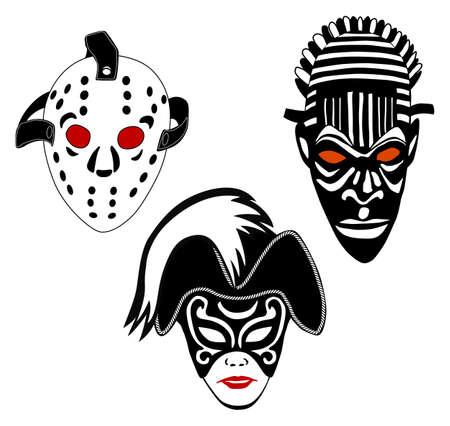 Masks, set of vintage ice hockey, Venice and African masks