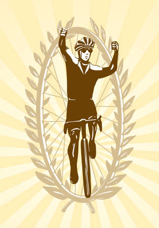 Cyclist celebrating his win, victory,illustration, easy to edit layers Illustration