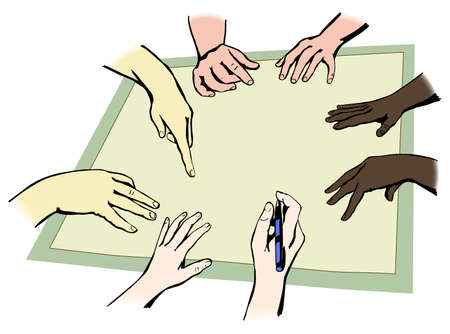 Hands of people from different races working together in unity, vector illustration, easy to edit layers Vector