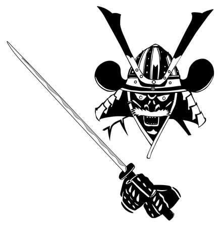 katana: Samurai in masker, met zwaard, vector, gemakkelijk te bewerken lagen