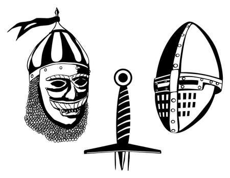 vestidos de epoca: Cascos de los guerreros medievales y la espada, ilustración vectorial Vectores