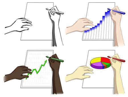 Juego de manos, escribir, dibujar diagramas, ilustraci�n vectorial Foto de archivo - 14517590