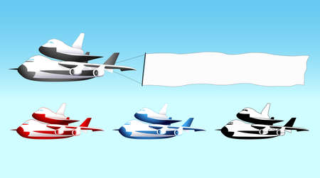 Sky advertising, shuttle carrier aircraft with blank banner, different colors Vector