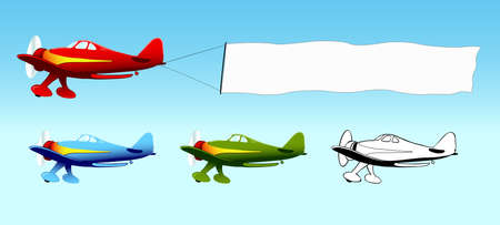 horizontal banner: Plane with blank sky banner, aerial advertising, in different colors, vector illustration