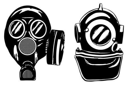 inhaling: Gas mask and deep diver s helmet, vector illustration Illustration
