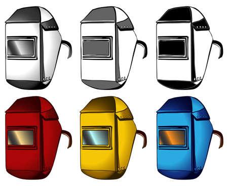 Welder, masks, set of different colors, vector illustration