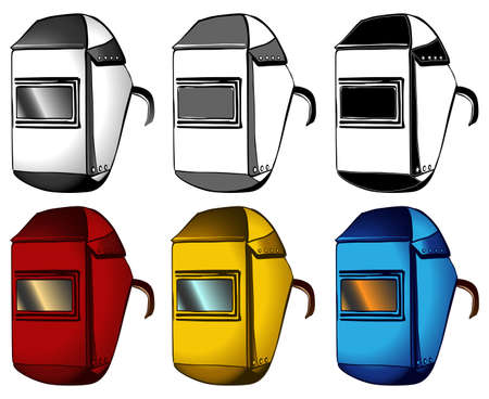 Welder, masks, set of different colors, vector illustration