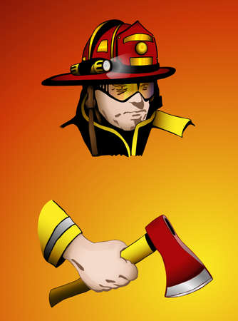 fire helmet: Firefighter with axe in hand, easy to edit layers