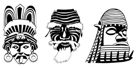Masks, Aztec, Japanese and African Vector
