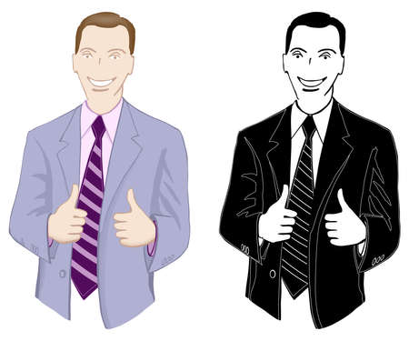 Businessman, smiling, showing thumbs up, color and monochrome Stock Vector - 14758931