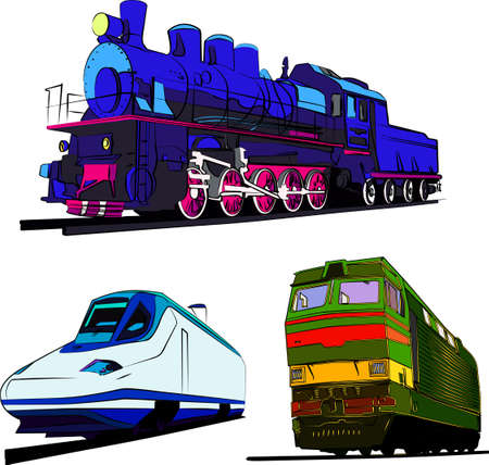 steam locomotive: Set of trains vector illustration. Steam train, speed express and locomotive.